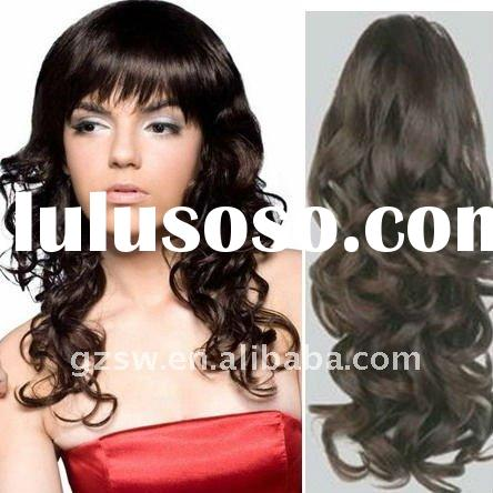 wholesale fashion high quality 2# 18 inch curly chinese hair clip on curly hair extension
