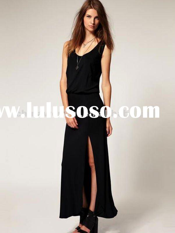 women casual long style dress without sleeve
