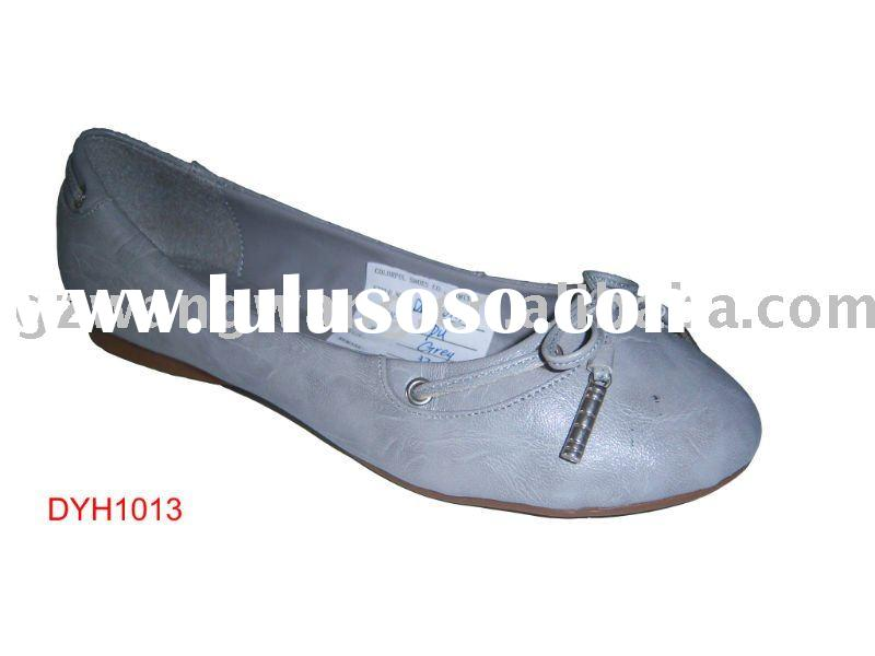 women cheap flat shoes 2011 grey color with bowtie on upper casual shoes