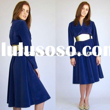women's cotton polyester velour long sleeve dress with belt