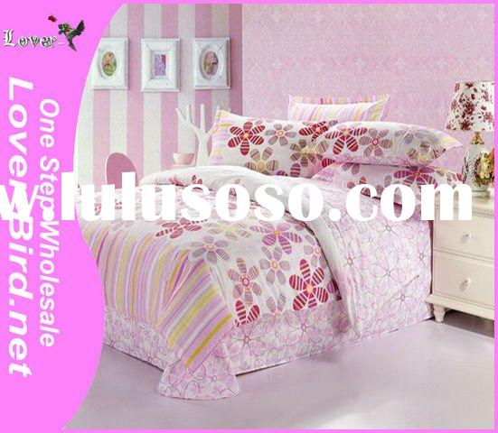 100% Cotton Pink Flower Bedding Set, bed sheet cover, pillow cover,4pcs sheet, comforter,printed bed