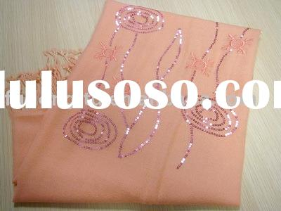 100% cashmere shawl with hand embroidery and sequin