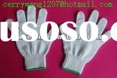 10 pins natural white cotton knitted working gloves