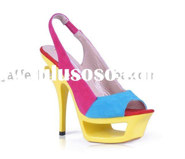 2011 Hot ladies' colorful high heel sandals