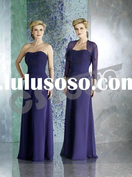 2011 Purple Chifon Strapless Floor Length Mother of the Bride Dress