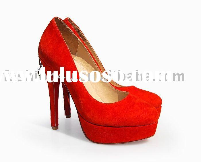 2011 Wholesale Ladies Fashion Shoes High Heels Suede Red