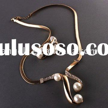 2011 fashion jewelry copper alloy gold &silver necklace and earring Set With freshwather pearl