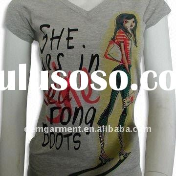 2011 fashion plain white women's printed v neck t shirt