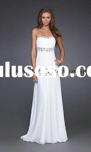 2011 latest style white silk chiffon long evening dress