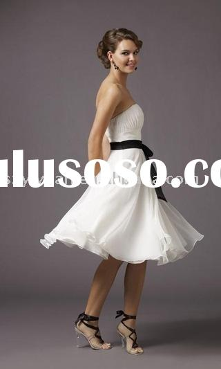 2011 new style black sash white short evening dress