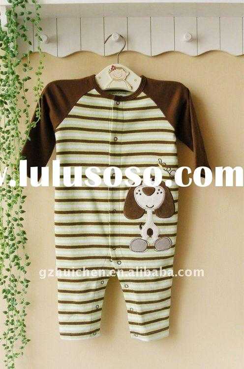 2011 spring baby wear 100% cotton long sleeve embroider sleepwear