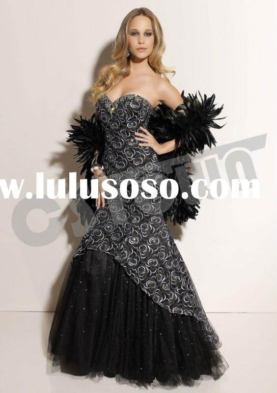 2012 Mermaid Sweetheart Floor Length Black Lace Prom Dress With Fabulous Cape