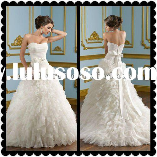 2012 New Arrival Hot Sell High Quality White Organza Wedding Dresses Wedding Gowns ML-001