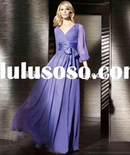 2012 hot sale Long sleeve fashion newest evening dresses