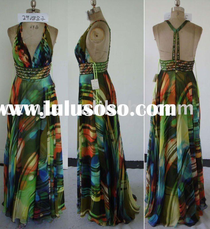 2012 new arrival halter printed chiffon long prom dresses on sale