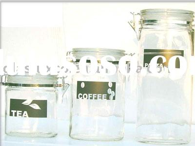 3Pcs Oval Glass Storage Canister Set w. Airtight Glass Lids and Black & White Shadow Decal