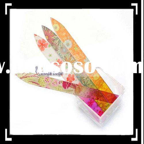 4 Color Crystal Glass Nail Files Durable Case 5.5inch