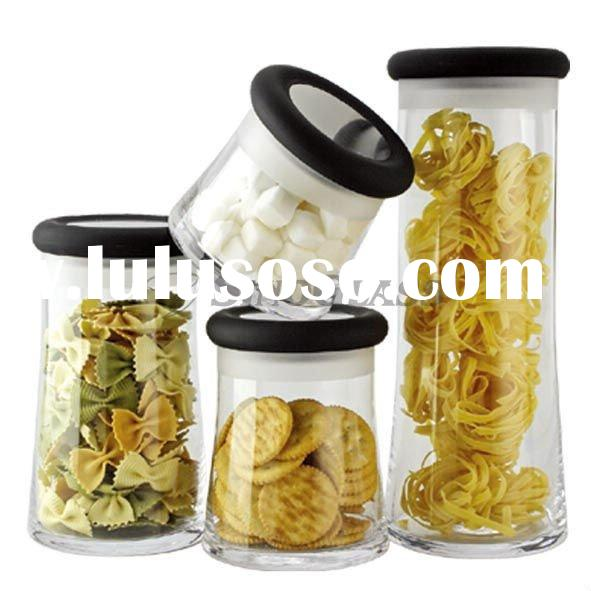 4 Pcs Clear Glass Storage Jar Set With Plastic Lid