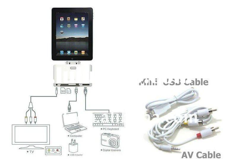 5-in-1 Connection Kit for iPad 2, camera connection kit for apple's ipad 2,digital av adapte
