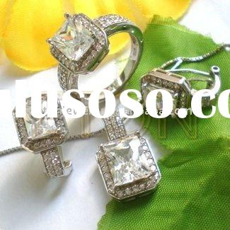 Artisan crafted fashion silver micro pave setting pure clear cz sterling silver 925 sterling silver