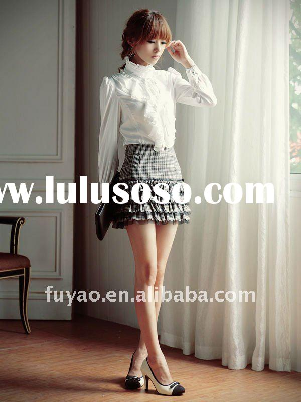 BF9634 office lady elegant lotus design long sleeve chiffon white blouse