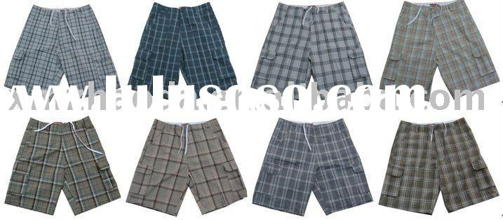 BU-1021 Mens Cotton Check Shorts