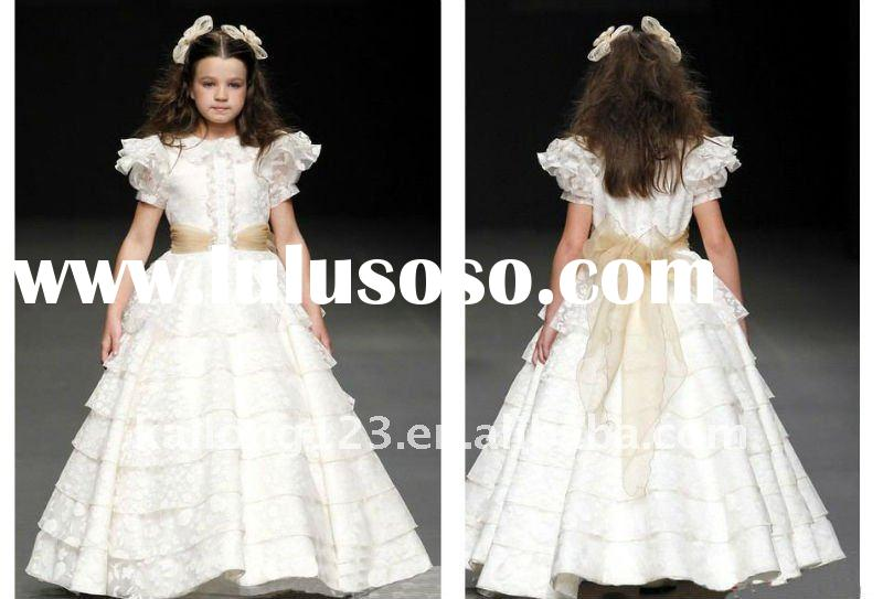 Beautiful Sash Ruffle Ball Gown Little Kids Bride Dress