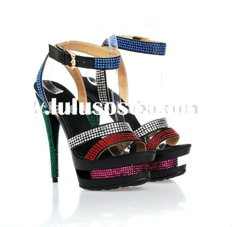 Best selling colorful crystal beautiful women high heel sandals GSL003 paypal