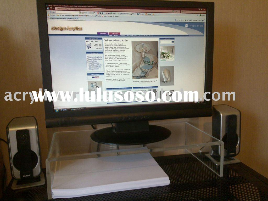Clear Acrylic Computer Monitor Keyboard Stand TV Table