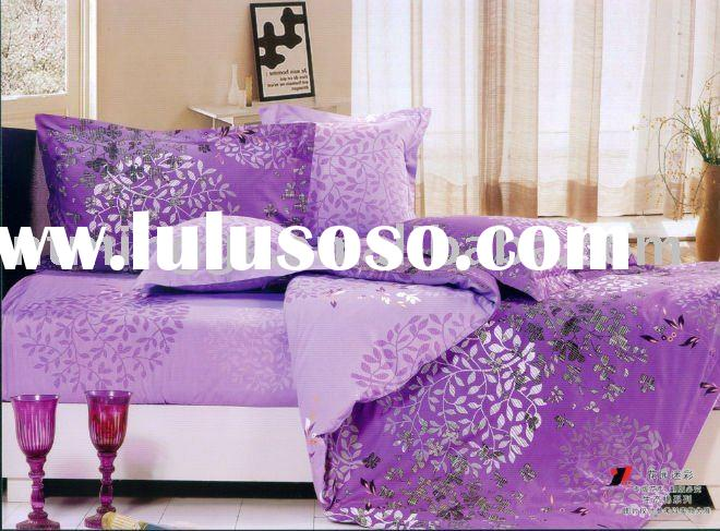 Cotton reactive printed queen size bed set