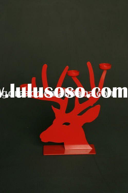 Craft, metal craft, metal candle holder, iron candlestick of deer head, Wrought Iron Candle Holders