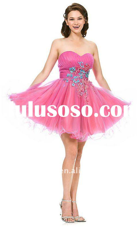Custom Made 2011 Summer Ball Gown Formals Elegant Strapless Short Junior Homecoming Dress
