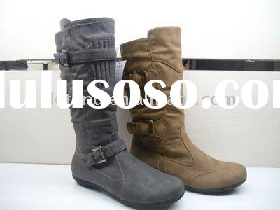 DT089 New Design Trendy Middle Heel White Cheap Ladies Boots In 2011