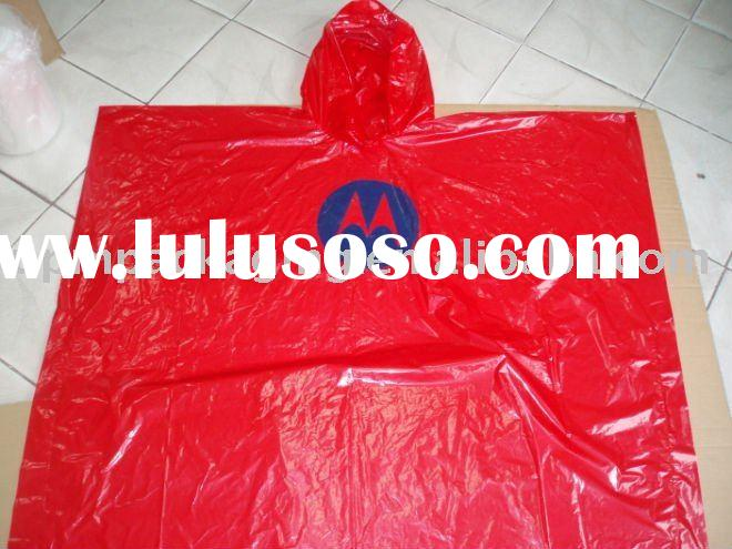 Degradable Red Poncho with hood/Plastic poncho