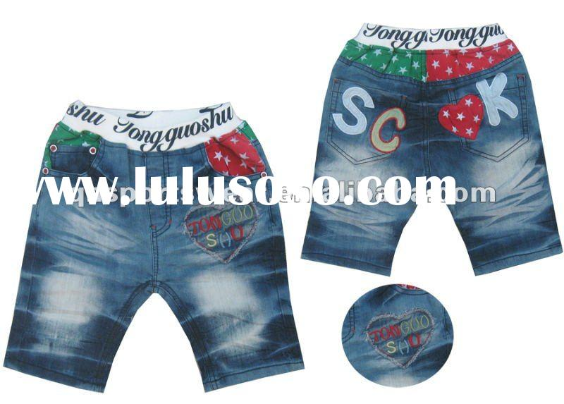 Fashion Children Shorts / Boy Printed Jeans Shorts / All over print jeans