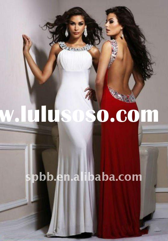 Fashion fast delivery latest E-1074 sleeveless crystal beading long backless charming party prom eve