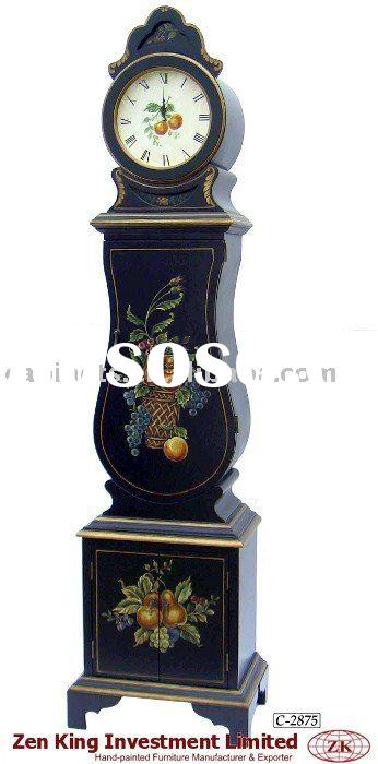 Hand Painted Country Style Wooden Grandfather Clock