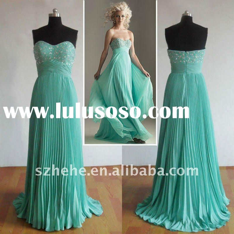 Hot sale real sample cheap green beaded prom dress 2011