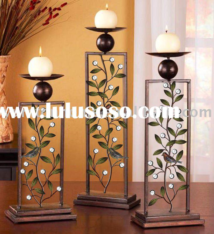 Hot sell Table wooden & Metal candle holder (set of 3)