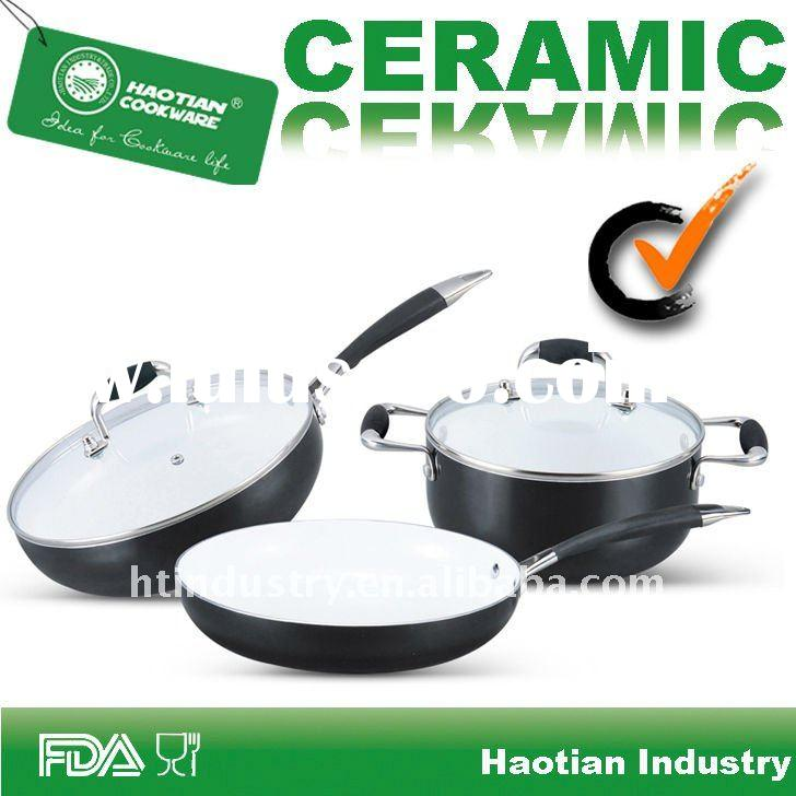 LFGB Certificated Quality Ceramic Cookware with Stainless Steel Handle