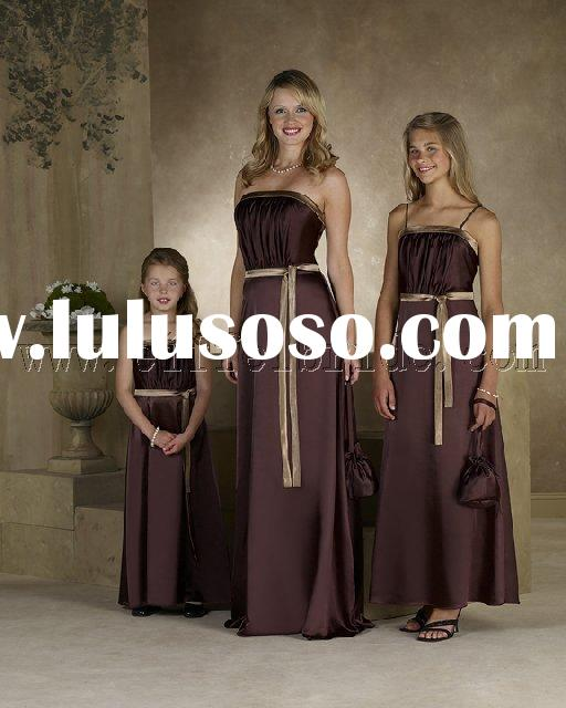 LY-7031 light and dark brown three-piece Bridesmaid Dresses\gown dress \fashion designer evening dre