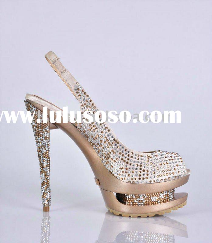 Luxury shiny crystal diamond high heeled women sandals GSL009 free shipping