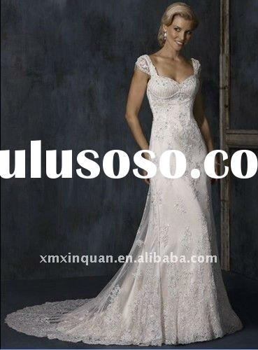 MSW271 Designer lace overlay satin back low cover button column white women's wedding dress