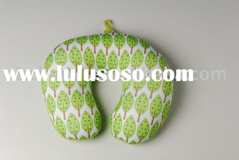 Microbeads u shape neck pillow with hook(tree design)