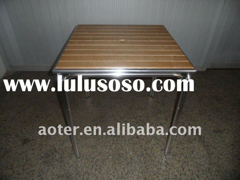 Modern wood centre metal dining table