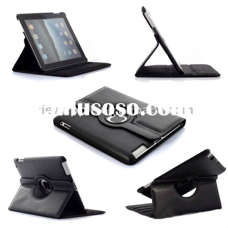 NEW!!! 360 degree rotatable design stand leather case for ipad 2