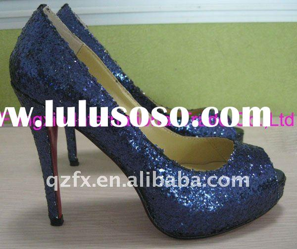 Navy blue glitter wedding shoes bridal shoes party shoes