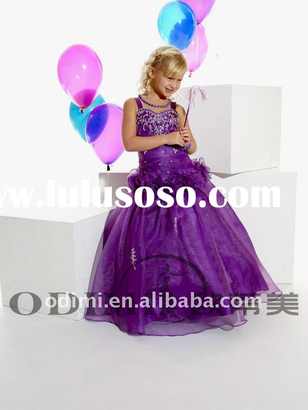 New Design Ruffle Flower Embroidered 2011 Girls Party Dress