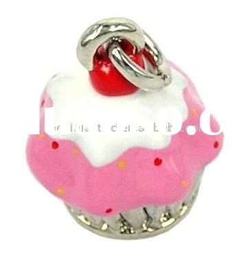 New design metal cupcake charms/ cupcake necklace pendant wholesale , Various Designs and colours,15