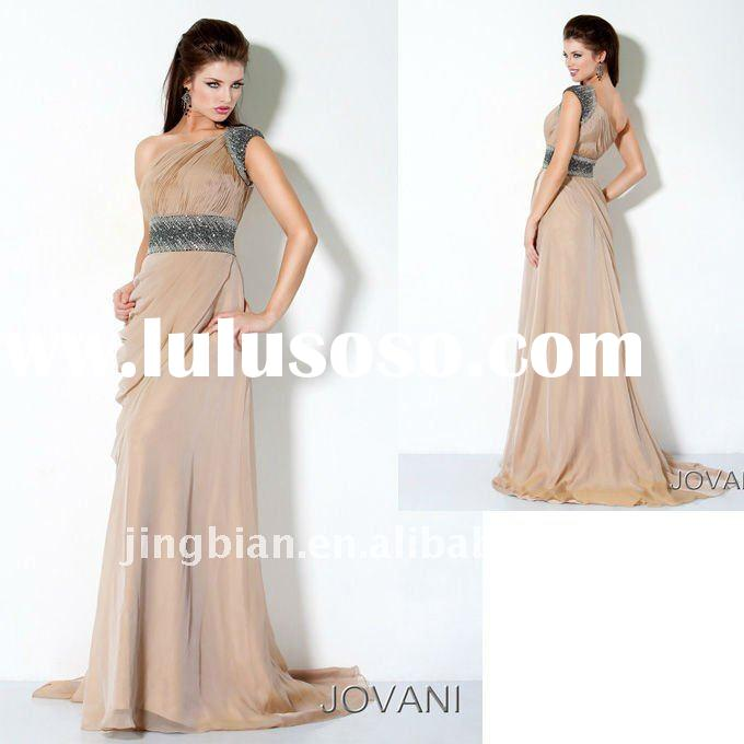 One shoulder Elegant Gown Latest Dress Designs Fashion Champagne Dresses evening ED688